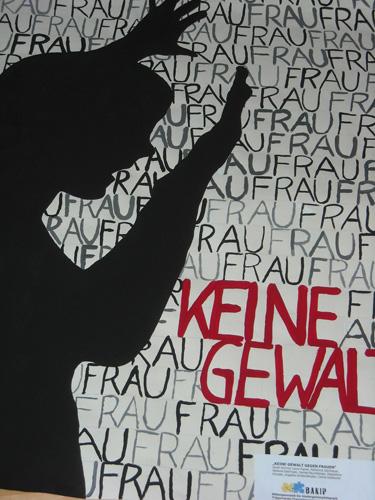 Foto eines Plakates gegen Gewalt